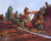 Warm Metal Prints - Mezza Bicicletta Nel Bosco Metal Print by Guido Borelli