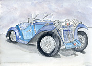 Classic Car Drawings - Mg 1926 by Eva Ason
