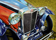 Vintage Digital Art Framed Prints - MG Hood Detail Framed Print by David Kyte