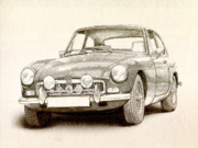 Automobile Posters - MG MGB MkII Poster by Michael Tompsett