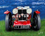 British Car Posters - MG TA Sports Car Poster by David Kyte