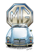 Sports Car Framed Prints - MGA Sports Car in Light Blue Framed Print by David Kyte