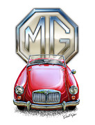 Red Car Art - MGA Sports Car in Red by David Kyte
