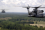 Flight Formation Photos - Mh-53 Pave Low Helicopters by Stocktrek Images