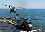 Mh-53e Sea Dragon Helicopters Take Print by Stocktrek Images