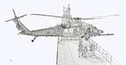 Helicopter Drawings Posters - MH-60 at work Poster by Nicholas Linehan