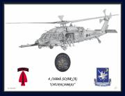 Helicopter Drawings - MH60 Blue Border by Nicholas Linehan