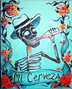 Day Of The Dead Painting Posters - Mi Cerveza Poster by Heather Calderon