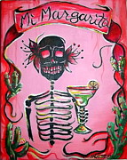 Skeletons Posters - Mi Margarita Poster by Heather Calderon