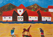 Lama Painting Framed Prints - Mi Pueblo Framed Print by Damaris Munoz Arias