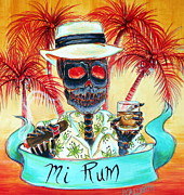 Day Of The Dead Painting Posters - Mi Rum Poster by Heather Calderon