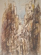 Streets Drawings Originals - Mi street by Richard Ainomujuni