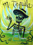 Day Of The Dead Painting Posters - Mi Tequila Poster by Heather Calderon