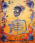 Day Of The Dead Painting Posters - Mi Vino Poster by Heather Calderon