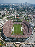Stadiums Framed Prints - Miami Aerial of Orange Bowl Stadium Framed Print by Scott B Smith Photography