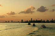 Biscayne Bay Posters - Miami and Biscayne Bay at Sunset Poster by Matt Tilghman