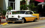 Fine Photography Art Mixed Media Framed Prints - Miami Beach Classic Car with Watercolor Effect Framed Print by Frank Romeo