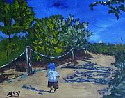 South Beach Paintings - Miami Beach Path and Child by Maria Soto Robbins