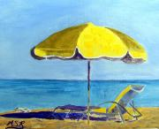 South Beach Paintings - Miami Beach Waiting for You by Maria Soto Robbins