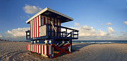 Flag Of Usa Photo Framed Prints - Miami Beach Watchtower Framed Print by Melanie Viola