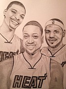 Lebron James Drawings - Miami Big 3 by Angelee Borrero