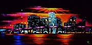 Miami Skyline Painting Originals - Miami by Black Light by Thomas Kolendra