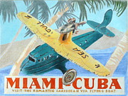 Airplanes Drawings Posters - Miami-Cuba Poster by Glenda Zuckerman