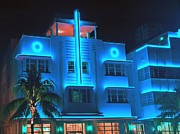Motel Mixed Media Prints - Miami Deco Lights Print by Jerry L Barrett
