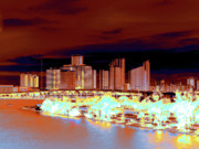 Yellow Bridge Digital Art Posters - Miami Heat Poster by Molly McPherson
