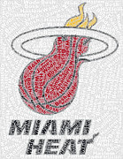 Nba Posters - Miami Heat Starting Five Mosaic Poster by Paul Van Scott