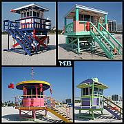 Miami Digital Art Metal Prints - Miami Huts Metal Print by DJ Florek