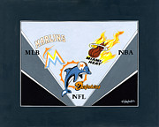 Nba Painting Posters - Miami Majors Poster by Herb Strobino