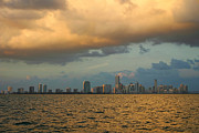 Carribean Sea Framed Prints - Miami on Stormy Dusk Framed Print by Matt Tilghman