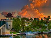 Miami Photos - Miami River Bridge by William Wetmore