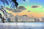Miami Skyline Digital Art Posters - Miami Skyline Abstract Poster by Christiane Schulze