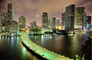 Florida Bridge Framed Prints - Miami Skyline At Night Framed Print by Steve Whiston - Fallen Log Photography