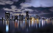Beach Framed Prints - Miami Skyline Framed Print by Gary Dean Mercer Clark