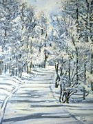 Cross-country Skiing Paintings - Micas Mile- Sundance Nordic Center by Cami Lee