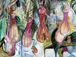 Tropical Mixed Media Framed Prints - Mice in the Pitchers Framed Print by Mindy Newman
