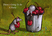Celebration Pastels Posters - Mice With Cherries Party Invitation Poster by Joyce Geleynse