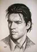 Soccer Drawings Originals - Michael Ballack by Agris Rautins