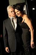 Kristin Callahan Photo Framed Prints - Michael Douglas, Catherine Zeta Jones Framed Print by Everett