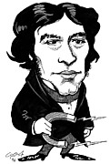 Michael Framed Prints - Michael Faraday, Caricature Framed Print by Gary Brown