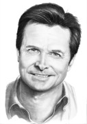 Famous People Drawings - Michael J. Fox by Murphy Elliott