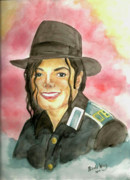 Famous People Paintings - Michael Jackson - A Bright Smile Shining in The Sky by Nicole Wang