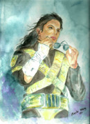 Mj Painting Posters - Michael Jackson - Dangerous Tour  Poster by Nicole Wang
