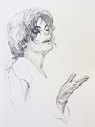 Mj Drawings Framed Prints - Michael Jackson - in 2001 NY Framed Print by Hitomi Osanai