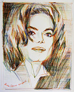Michael Drawings Framed Prints - Michael Jackson - Indigo child  Framed Print by Hitomi Osanai