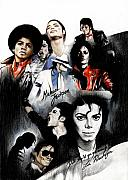 Pop Drawings Framed Prints - Michael Jackson - King of Pop Framed Print by Lin Petershagen