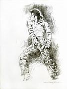 Music Legend Drawings Posters - Michael Jackson - Onstage Poster by David Lloyd Glover